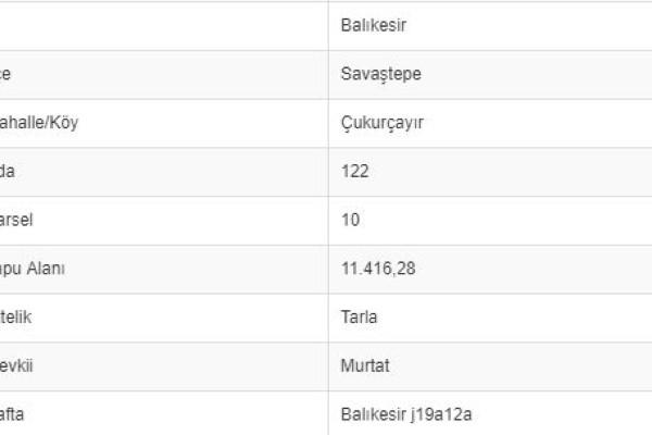 BALIKESİR SAVAŞTEPE ÇUKURÇAYIRDA 11.416 M2 TARLA