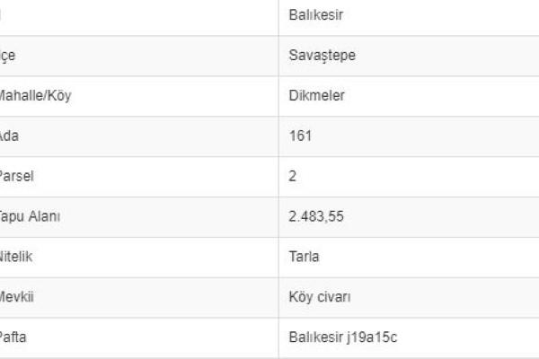 BALIKESİR SAVAŞTEPE DİKMELERDE 2.483 M2 TARLA