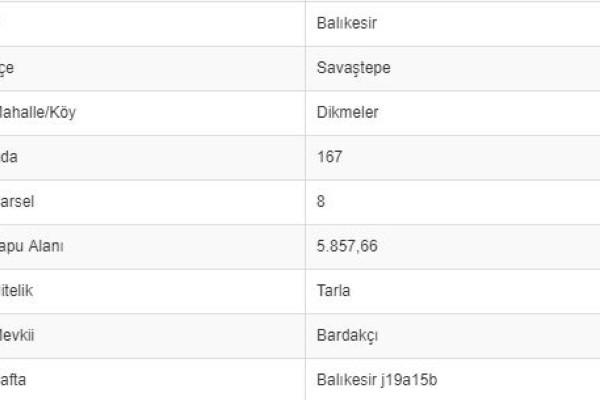 BALIKESİR SAVAŞTEPE DİKMELERDE 5.857 M2 TARLA