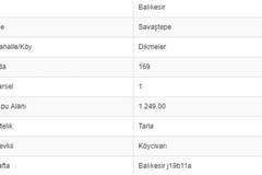 BALIKESİR SAVAŞTEPE DİKMELERDE 1.249 M2 TARLA