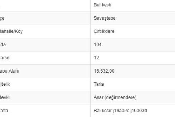 BALIKESİR SAVAŞTEPE ÇİFTLİKDEREDE 15.532 M2 TARLA