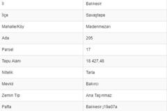 BALIKESİR SAVAŞTEPE MADENMEZARINDA 18.427 M2 TARLA