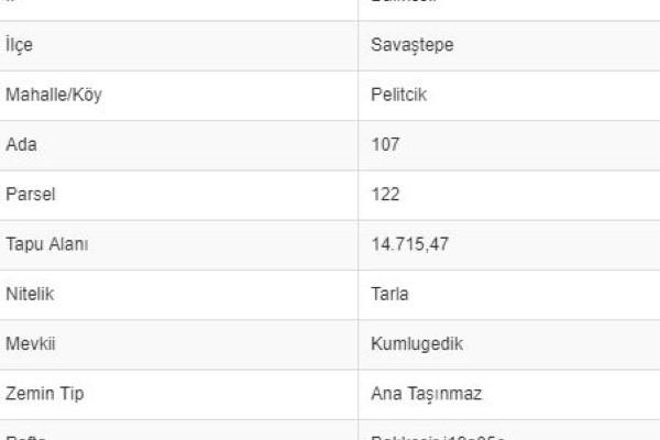 BALIKESİR SAVAŞTEPE PELİTÇİKTE 14.715 M2 TARLA