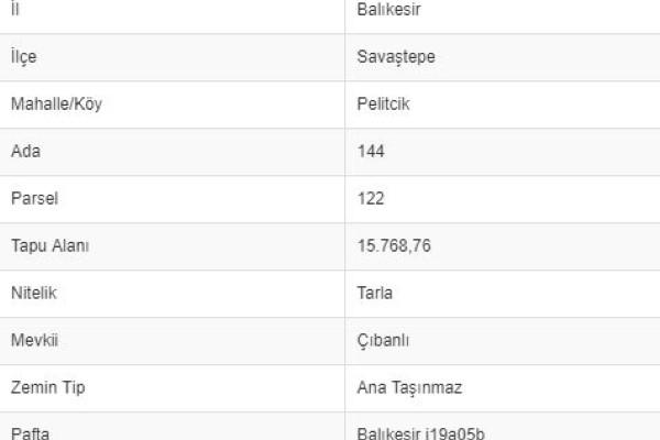 BALIKESİR SAVAŞTEPE PELİTÇİKTE 15.768 M2 TARLA