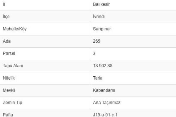 BALIKESİR İVRİNDİ SARIPINARDA 18.902 M2 TARLA