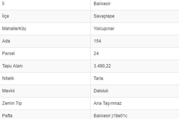 BALIKESİR SAVAŞTEPE YOLCUPINARINDA 3.490 M2 TARLA