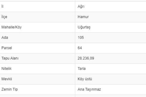 AĞRI HAMURDA 28.236 M2 TARLA
